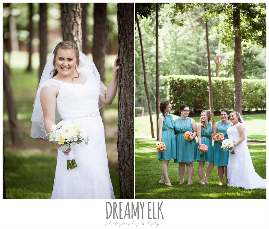 outdoor bridal portrait, blue bridesmaids dresses, amber springs summer wedding photo {dreamy elk photography and design}