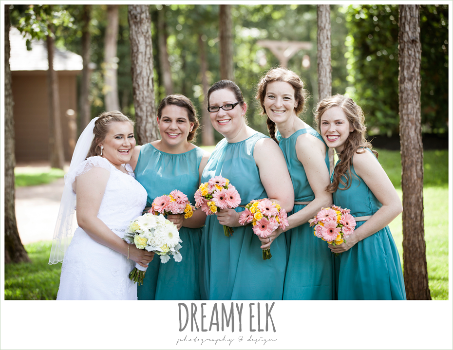 outdoor bridal party, blue bridesmaids dresses, pink bouquets, amber springs summer wedding photo {dreamy elk photography and design}