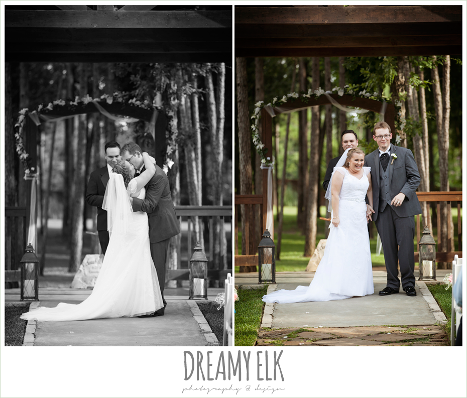 bride and groom kissing during ceremony, amber springs summer wedding photo {dreamy elk photography and design}