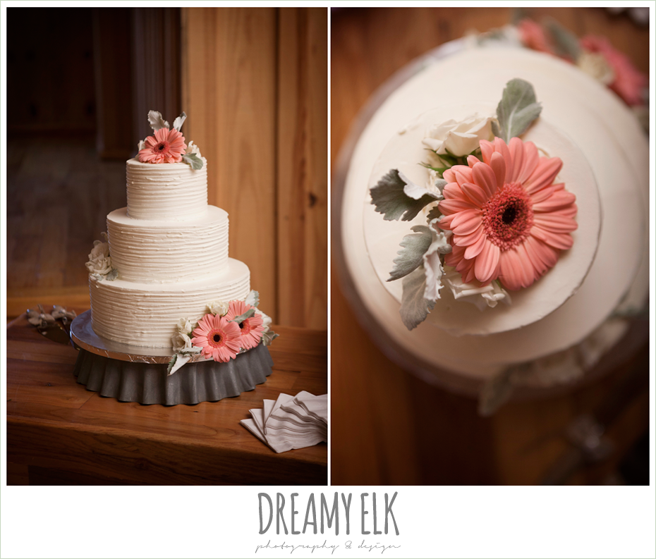 dream cakes, rustic wedding cake, three tier wedding cake with carnation flowers cake topper, amber springs summer wedding photo {dreamy elk photography and design}