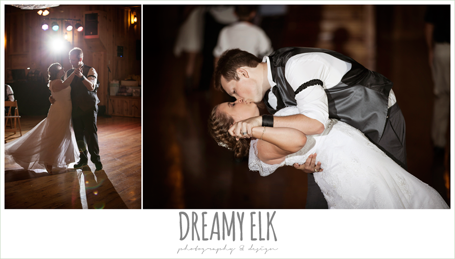 bride and groom first dance, groom dipping bride, amber springs summer wedding photo {dreamy elk photography and design}