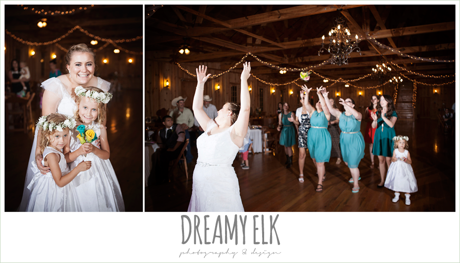 bouquet toss at wedding reception, amber springs summer wedding photo {dreamy elk photography and design}