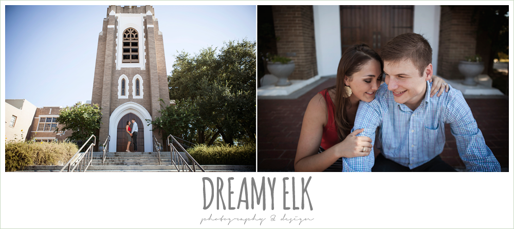 urban summer engagement photo in front of a church, downtown bryan, texas {dreamy elk photography and design}