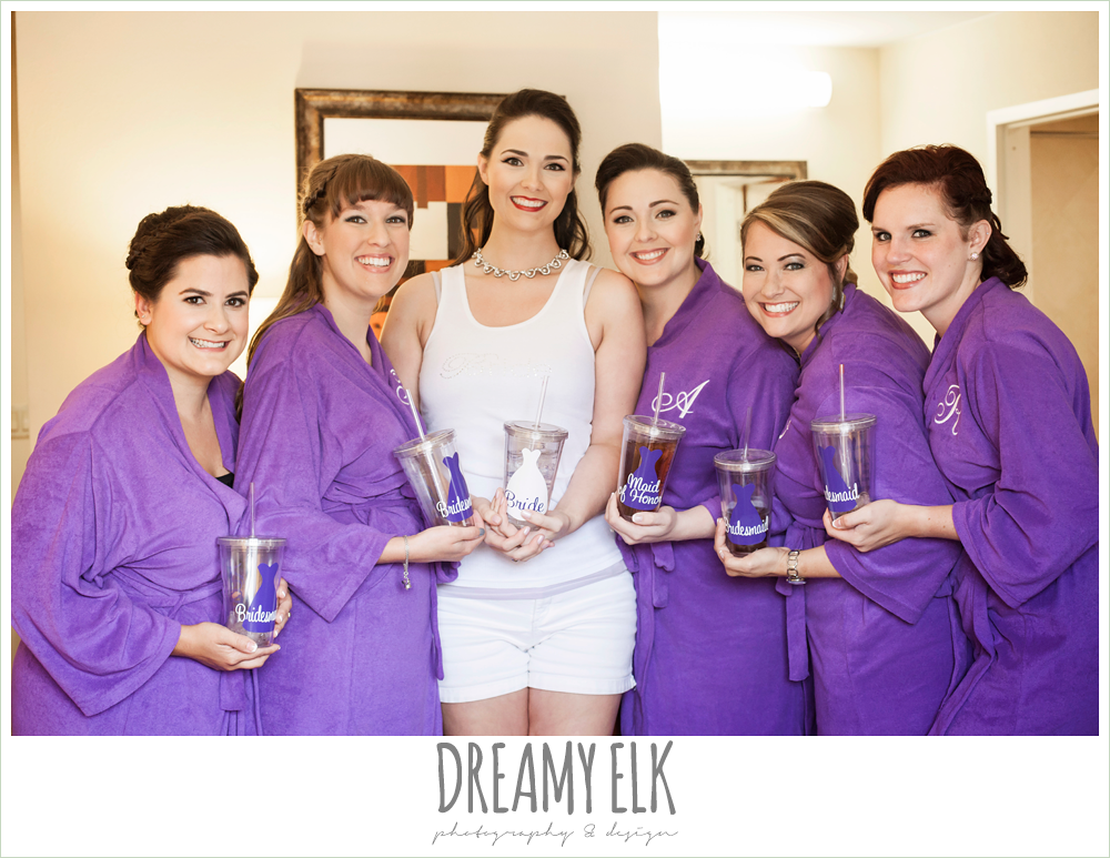 bridesmaids in matching purple robes, personalized bridesmaids gifts, houston, texas {dreamy elk photography and design}