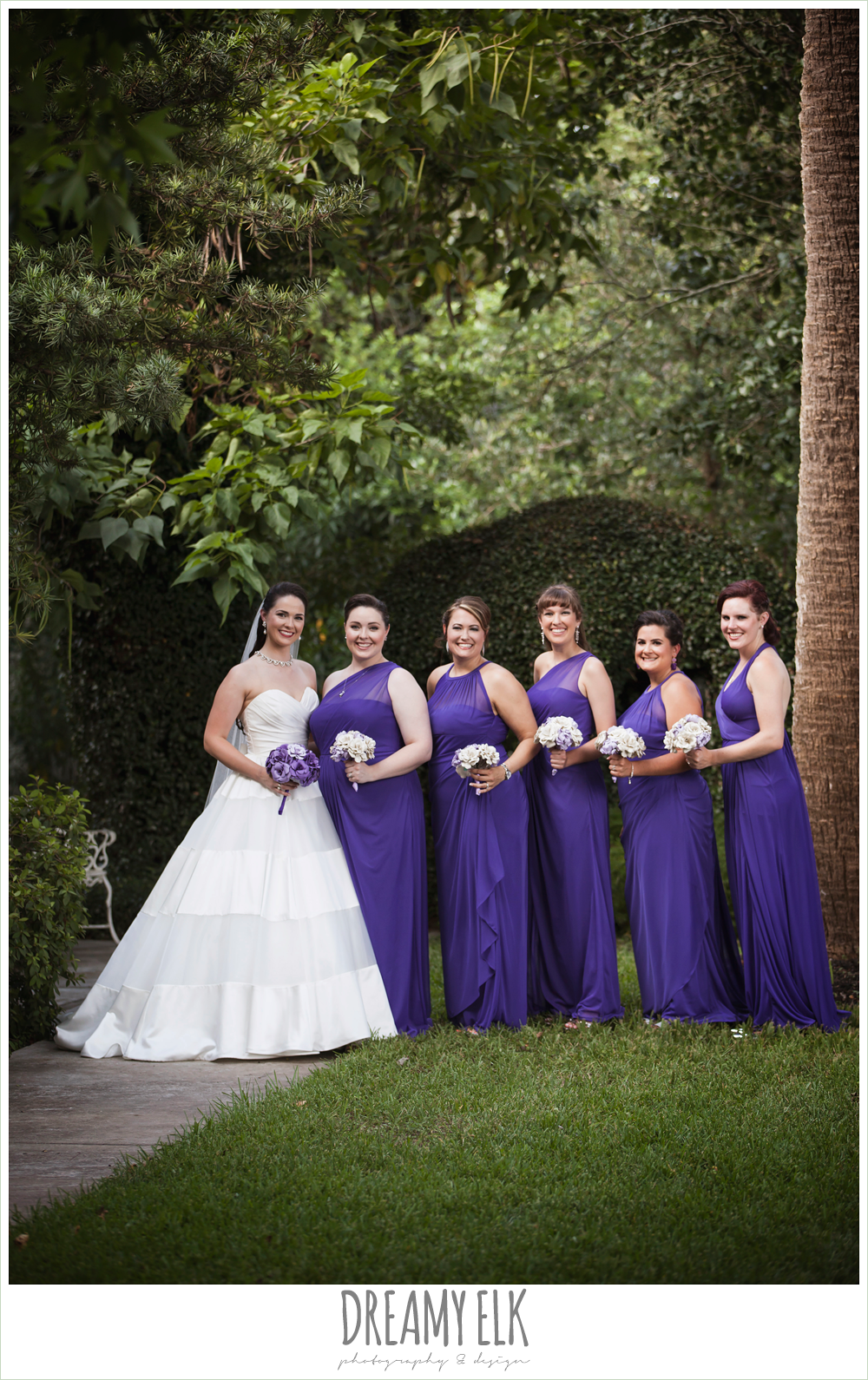 bridal party, long purple bridesmaids dresses, satin ball gown wedding dress, heather's glen summer wedding photo, houston, texas {dreamy elk photography and design}