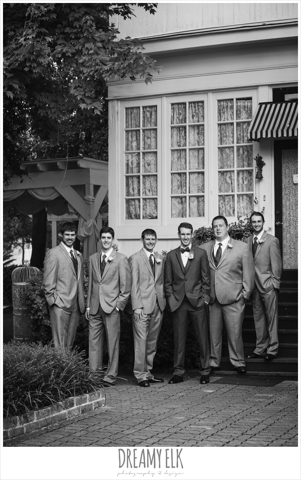 outdoor groom and groomsmen portraits, gray suits, heather's glen summer wedding photo, houston, texas {dreamy elk photography and design}