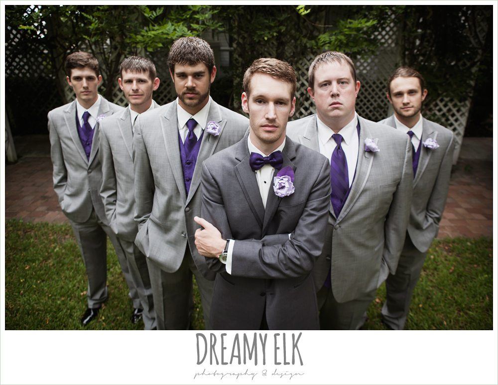 outdoor groom and groomsmen photo, gray suits, purple bow ties, paper flower boutonnieres, heather's glen summer wedding photo, houston, texas {dreamy elk photography and design}