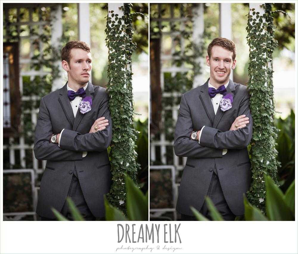 outdoor groom's portraits, gray suit, purple bow tie, heather's glen summer wedding photo, houston, texas {dreamy elk photography and design}