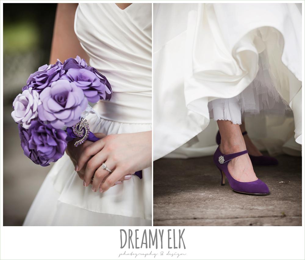 purple paper flower bouquet, purple wedding shoes, heather's glen summer wedding photo, houston, texas {dreamy elk photography and design}
