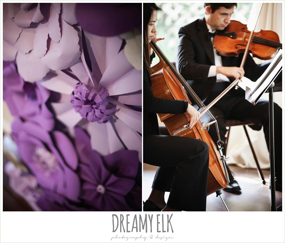 diy wedding decor, purple paper flower decorations, stringed quartet, wedding ceremony, heather's glen summer wedding photo, houston, texas {dreamy elk photography and design}