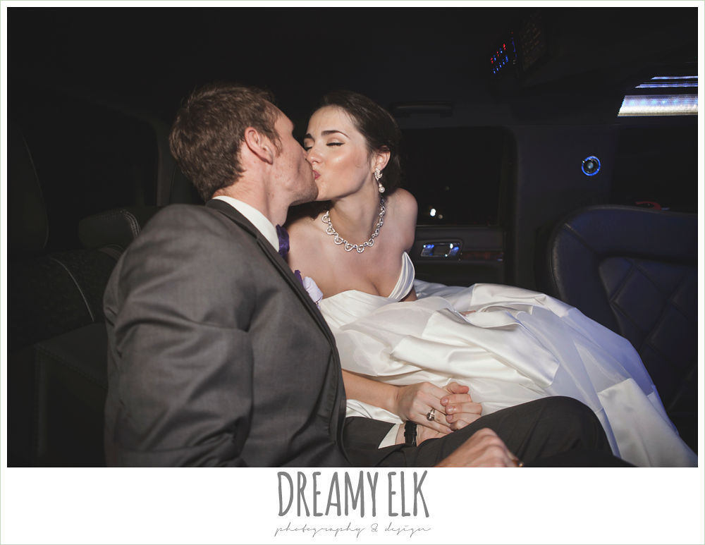 bride and groom kissing in the limo, heather's glen summer wedding photo, houston, texas {dreamy elk photography and design}