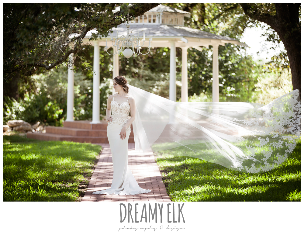 veil blowing in the wind, sheath two tone wedding dress, cathedral lace wedding veil, indoor summer bridal photo, winfield inn {dreamy elk photography and design}