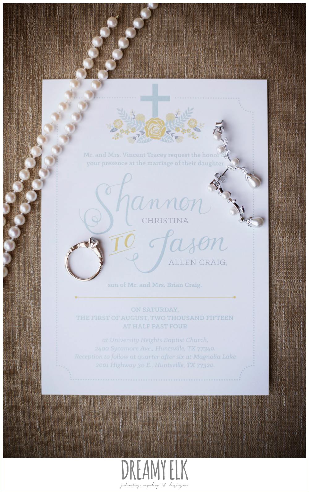 blue and yellow wedding invitation, wedding jewelry, summer wedding photo {dreamy elk photography and design}