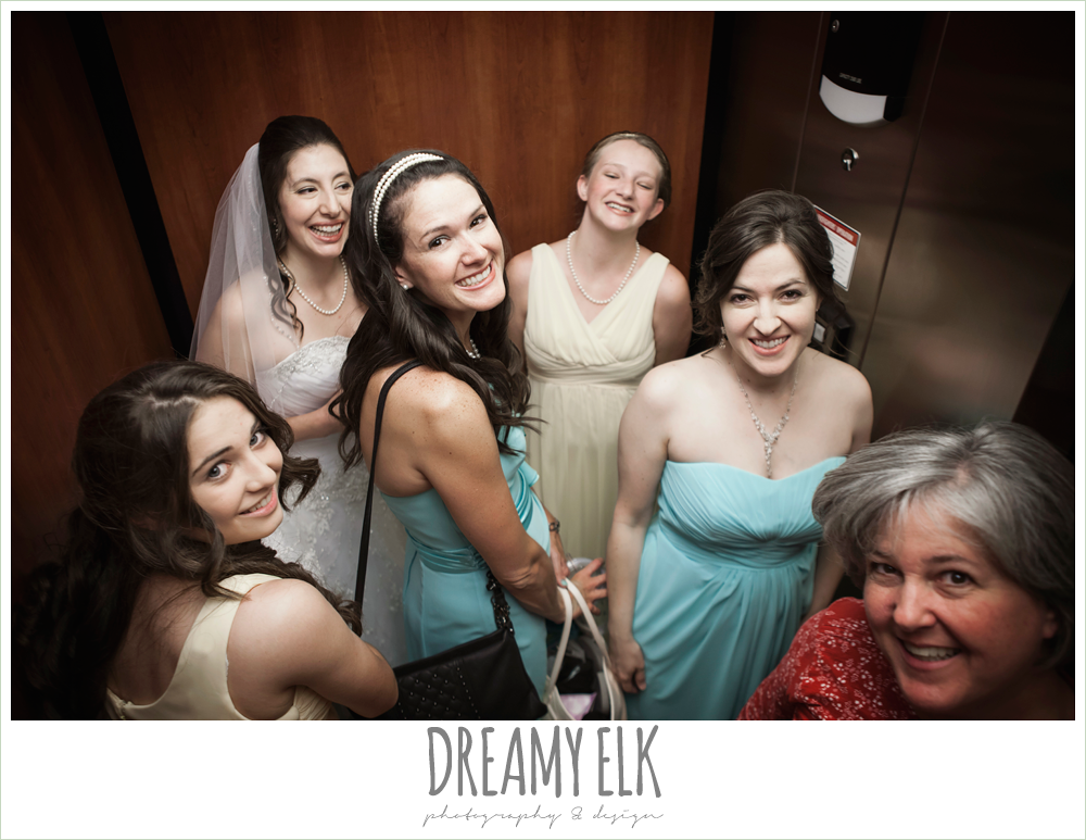 bride and bridesmaids in elevator, summer wedding photo {dreamy elk photography and design}