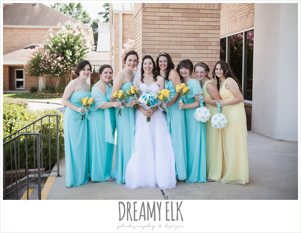 blue and yellow floor length bridesmaids dresses, church wedding, summer wedding photo {dreamy elk photography and design}