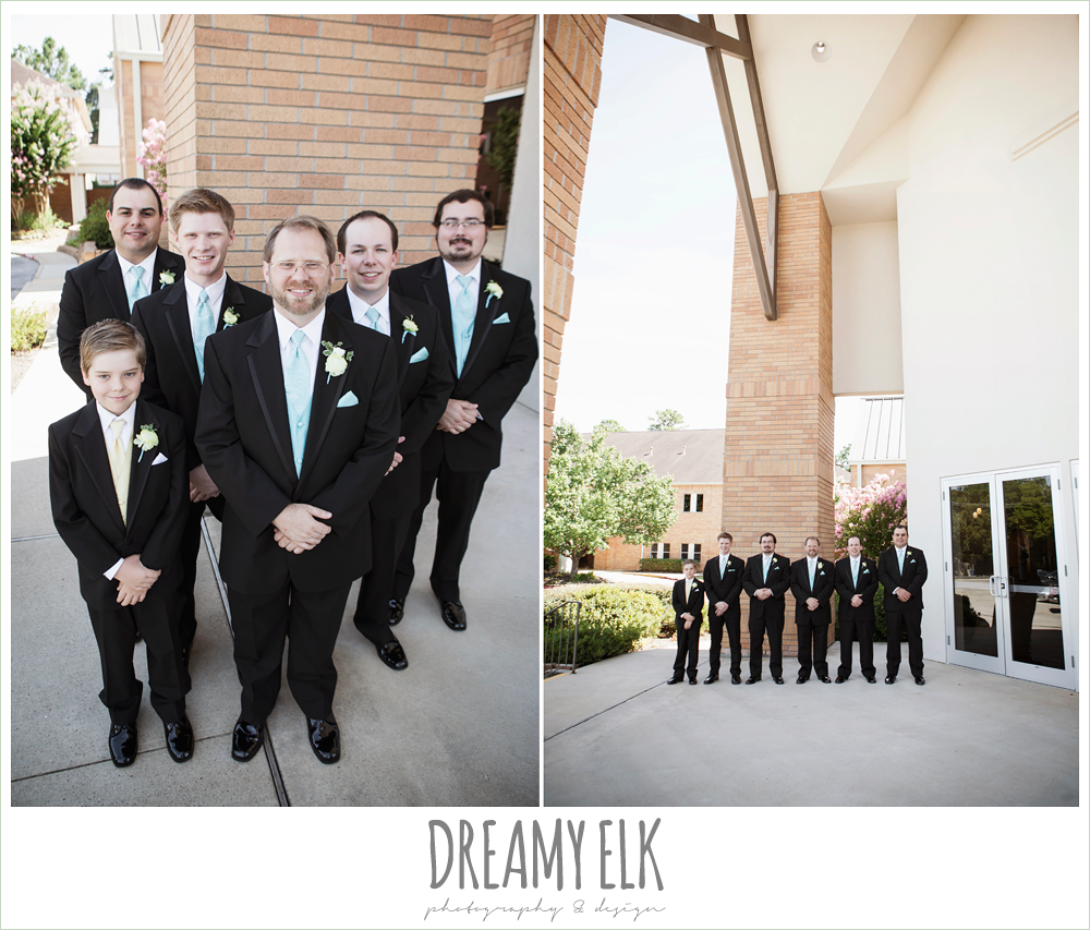 groom and groomsmen in tuxedos, light blue vests and ties, church wedding, summer wedding photo {dreamy elk photography and design}