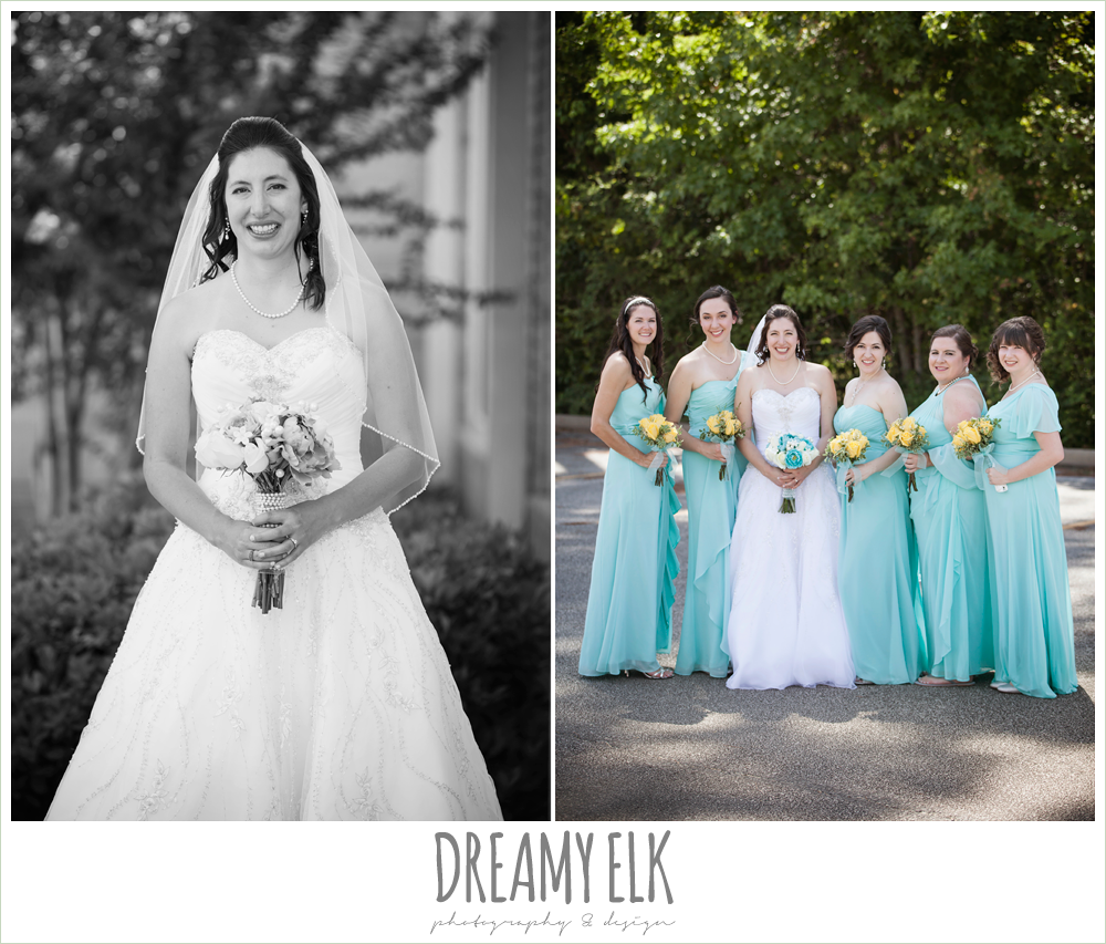 blue floor length bridesmaids dresses, blue and yellow wedding bouquet, sweetheart strapless wedding dress, church wedding, summer wedding photo {dreamy elk photography and design}