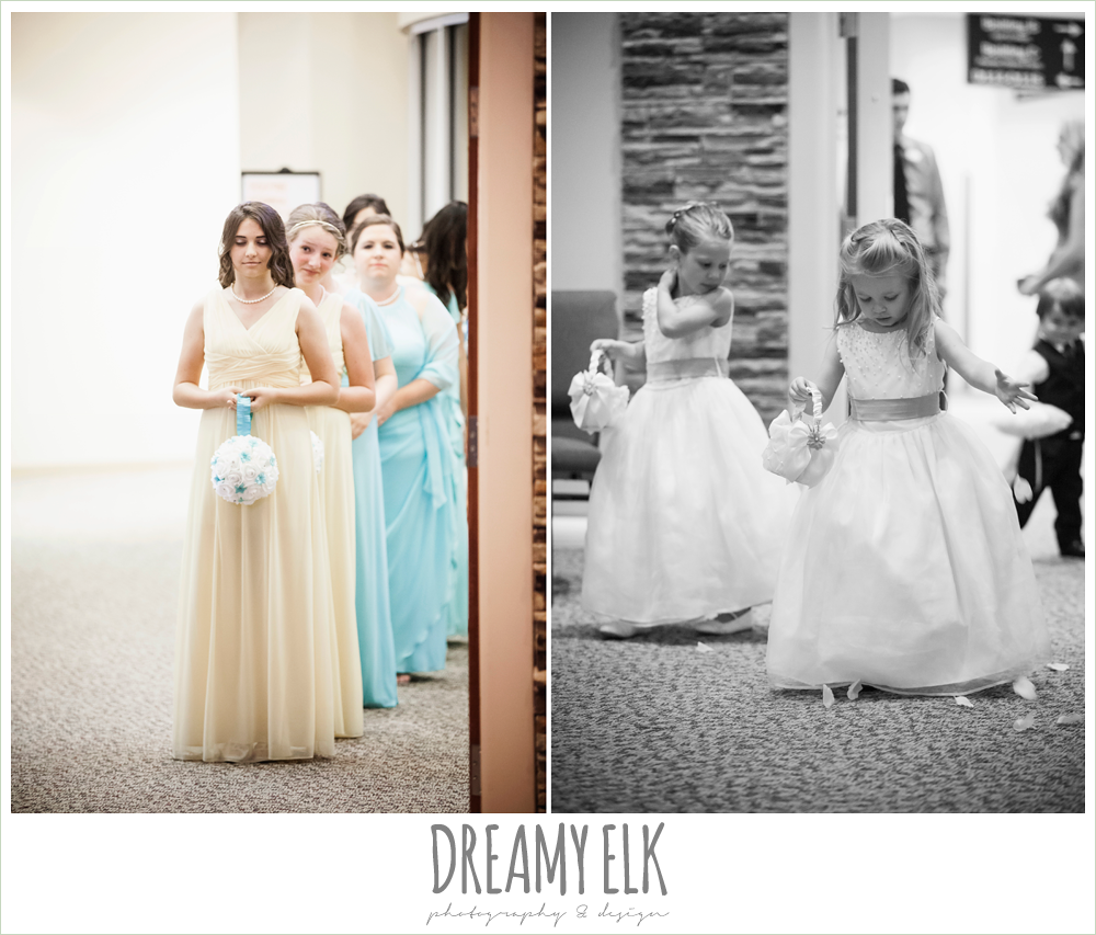 yellow and floor length bridesmaids dresses, church wedding, summer wedding photo {dreamy elk photography and design}