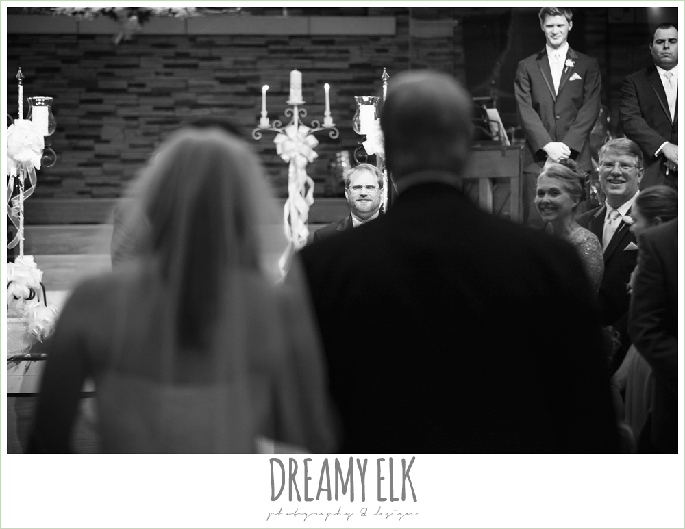 groom's reaction to bride walking down the aisle, church wedding, summer wedding photo {dreamy elk photography and design}