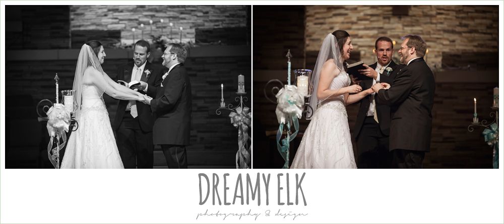 bride and groom exchanging rings, sweetheart strapless wedding dress, church wedding, summer wedding photo {dreamy elk photography and design}