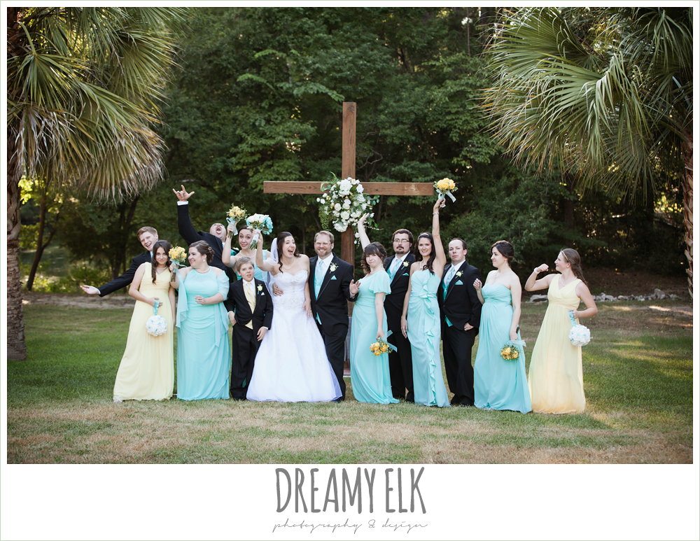 outdoor bridal party portraits, floor length blue and yellow bridesmaids dresses, blue wedding bouquet, sweetheart strapless wedding dress, magnolia lake, summer wedding photo {dreamy elk photography and design}