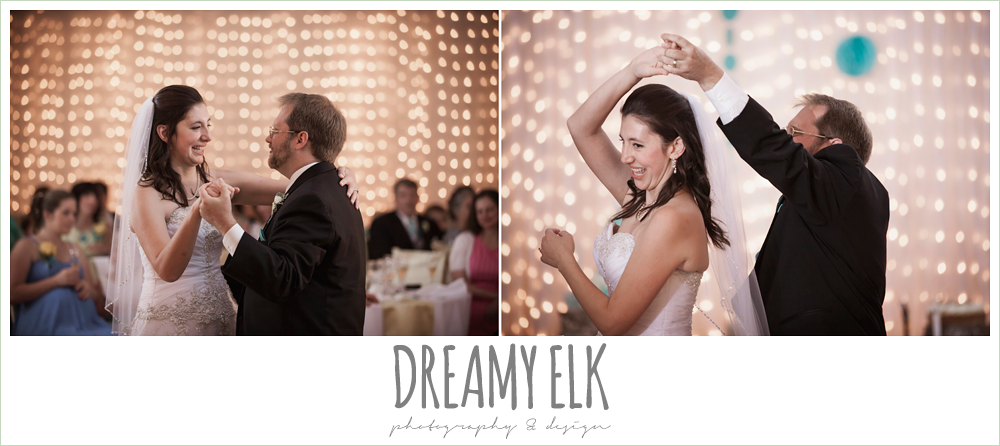 bride and groom first dance, indoor wedding reception, magnolia lake, summer wedding photo {dreamy elk photography and design}