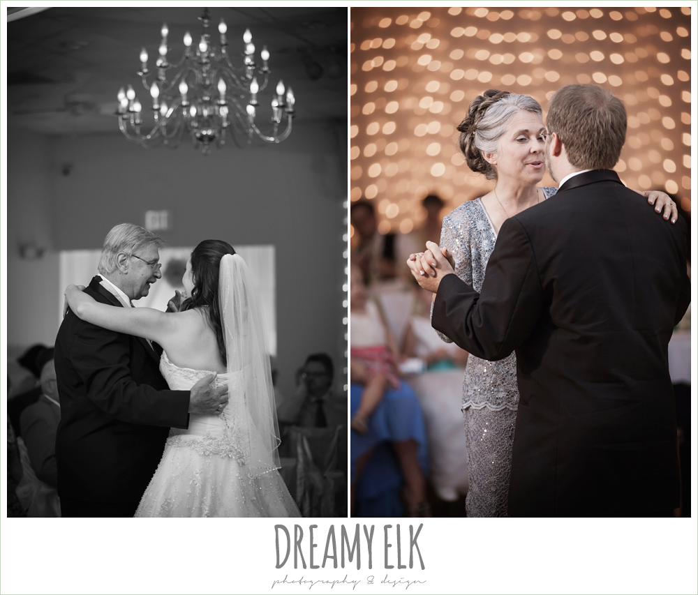 father daughter dance, mother son dance, indoor wedding reception, magnolia lake, summer wedding photo {dreamy elk photography and design}