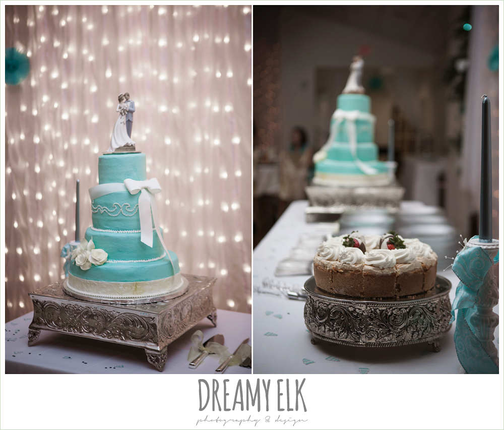 blue wedding cake, cheesecake groom's cake, grin and bake custom cakes, indoor wedding reception, magnolia lake, summer wedding photo {dreamy elk photography and design}