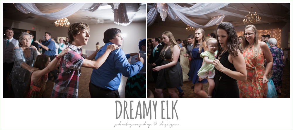 guests dancing at wedding reception, indoor wedding reception, magnolia lake, summer wedding photo {dreamy elk photography and design}
