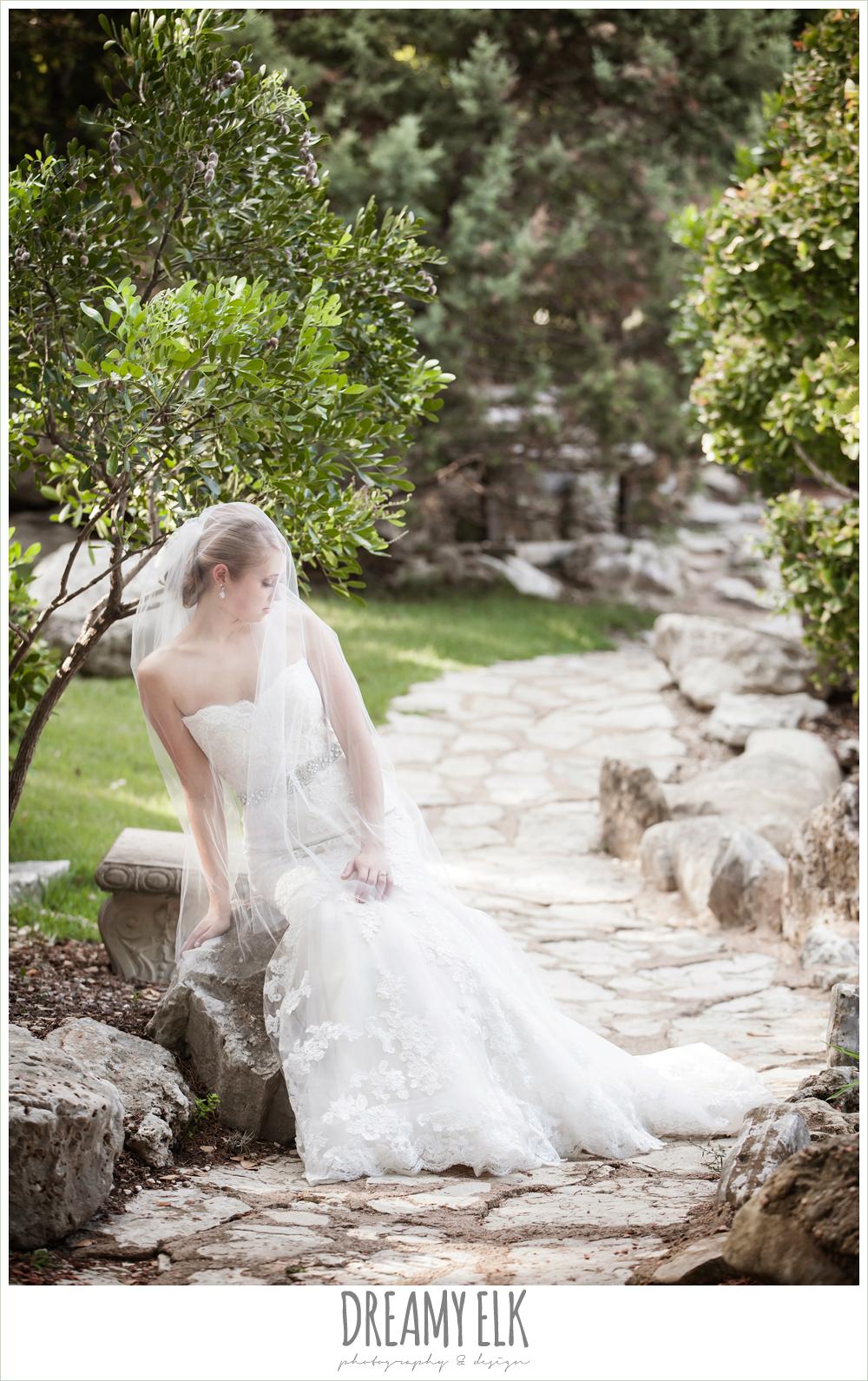 mermaid lace strapless wedding dress, summer outdoor bridal photos, zilker botanical gardens, austin, texas {dreamy elk photography and design}
