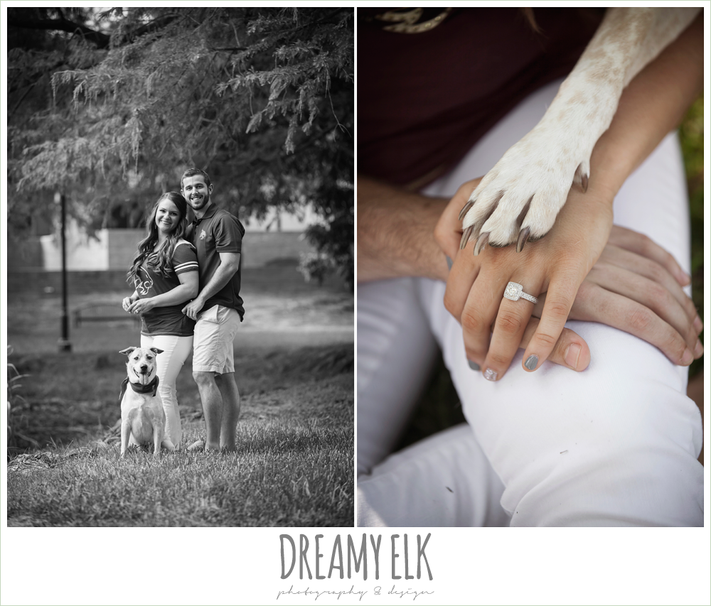 texas state university campus engagement photo with a dog {dreamy elk photography and design}