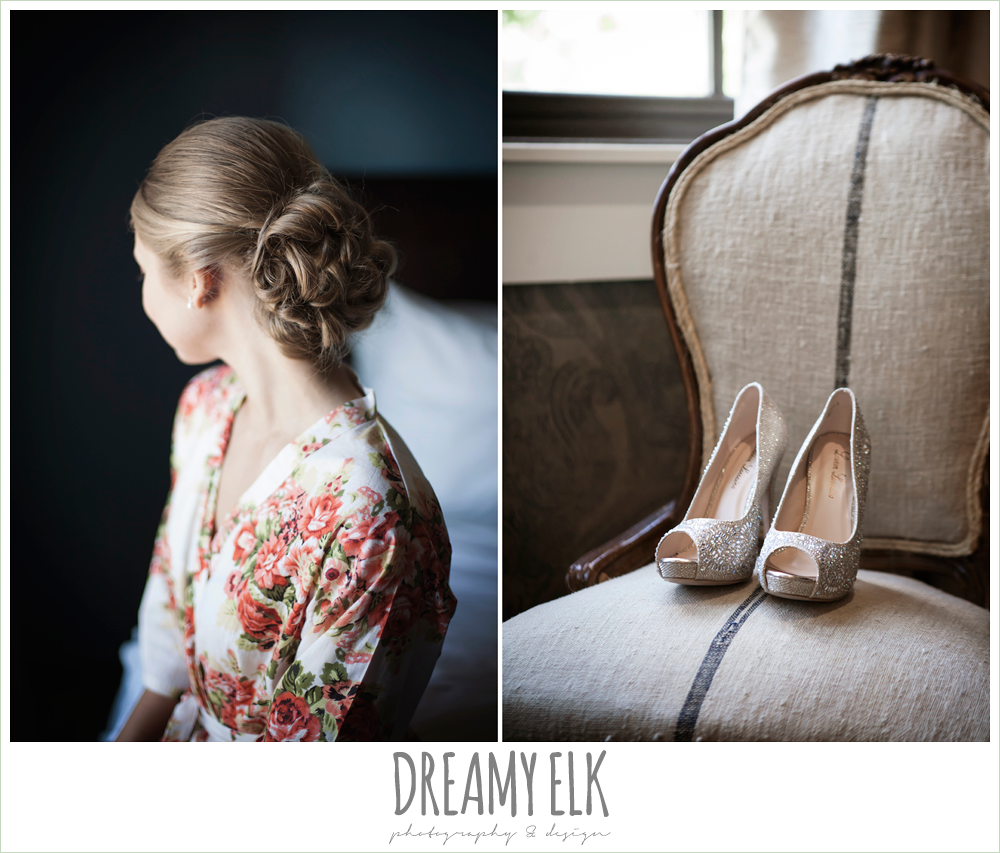 wedding hair updo, bride wearing floral robe, wedding shoes, the union on 8th wedding photo {dreamy elk photography and design}
