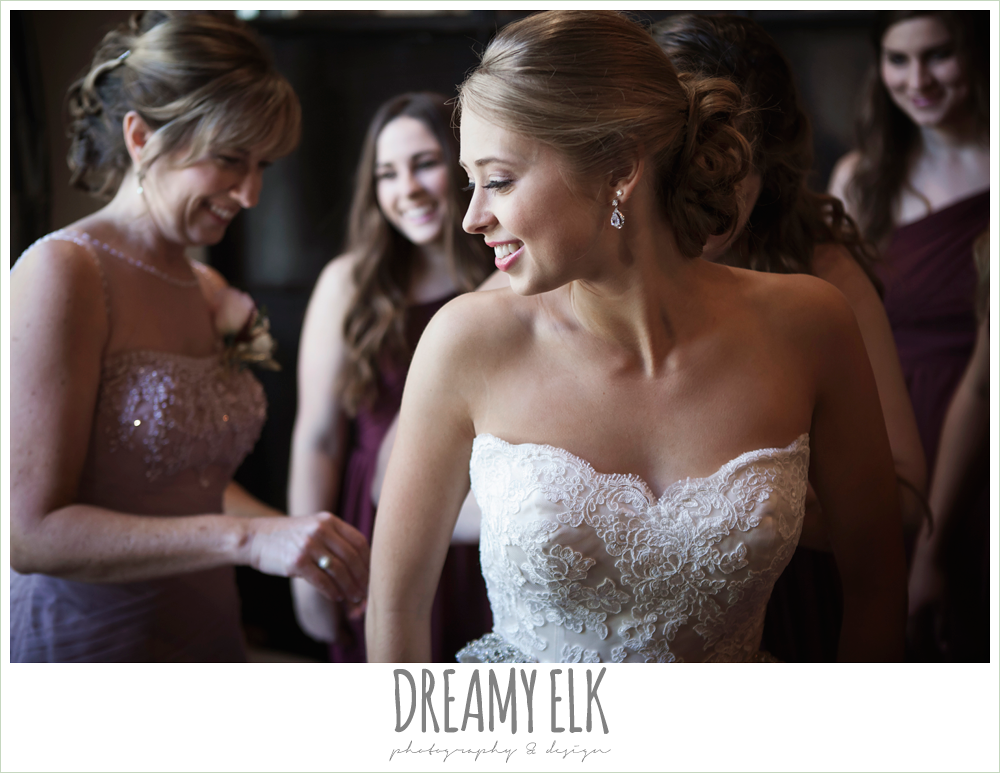 bride getting dressed, lace strapless wedding dress, the union on 8th wedding photo {dreamy elk photography and design}