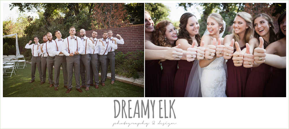 groom wearing suspenders, bow ties, and gray pants, the union on 8th wedding photo {dreamy elk photography and design}