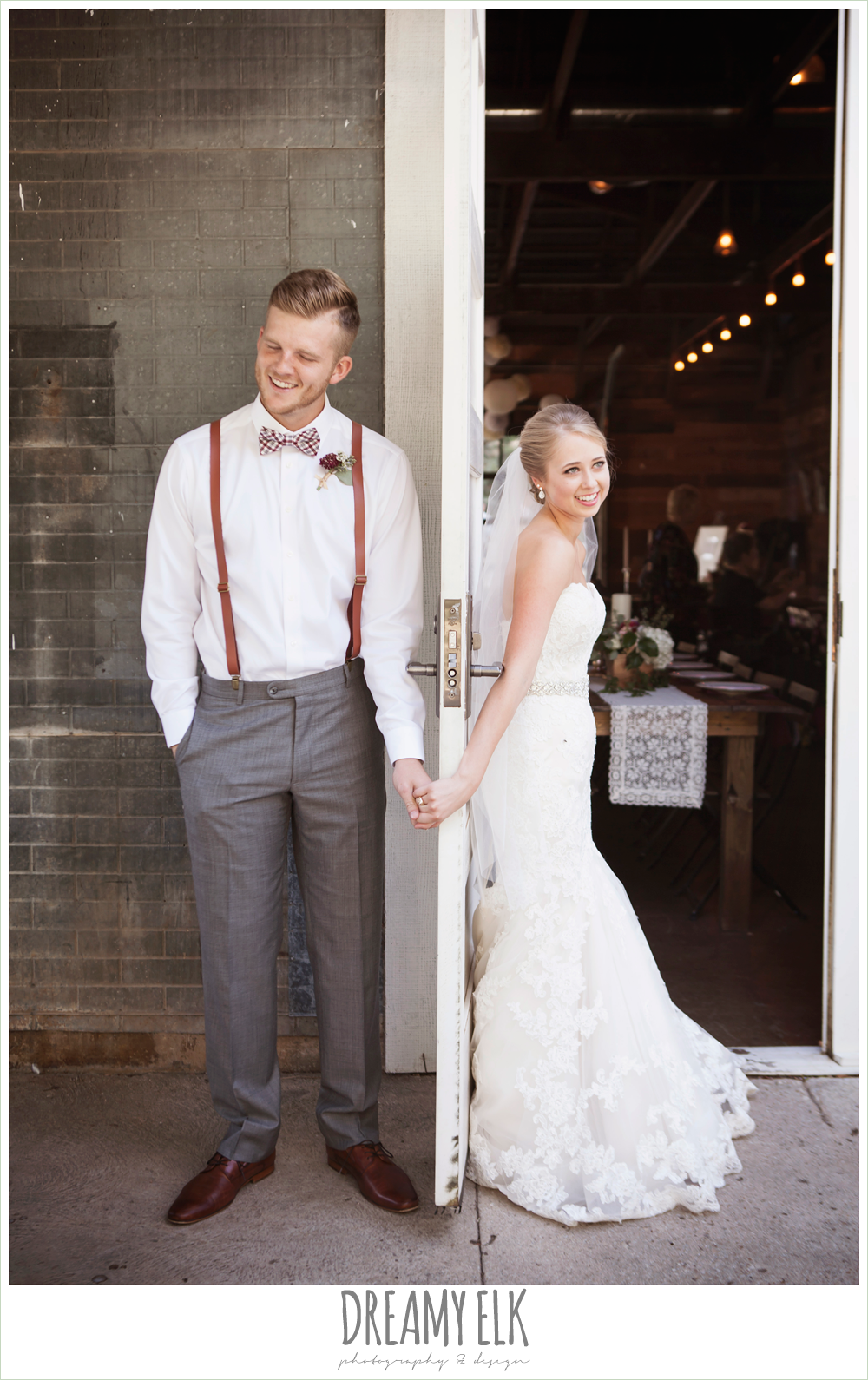 bride and groom holding hands around a door, the union on 8th wedding photo {dreamy elk photography and design}