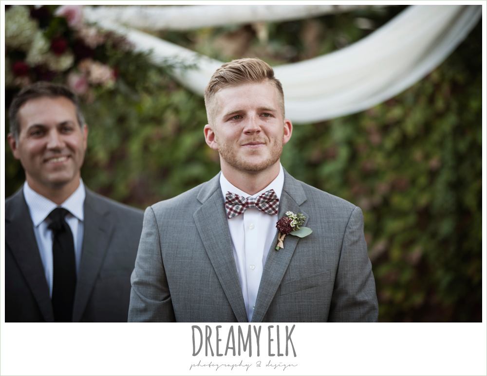 groom's reaction to bride walking down the aisle, the union on 8th wedding photo {dreamy elk photography and design}