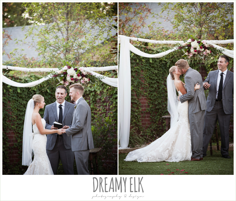 bride and groom kissing, wedding ceremony, the union on 8th wedding photo {dreamy elk photography and design}