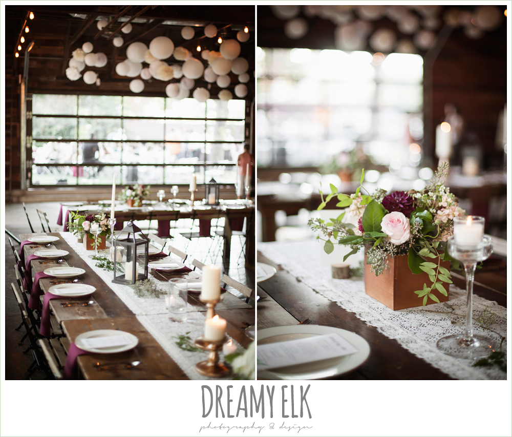 wedding reception decor, industrial, table centerpieces, lace table runners, the union on 8th wedding photo {dreamy elk photography and design}