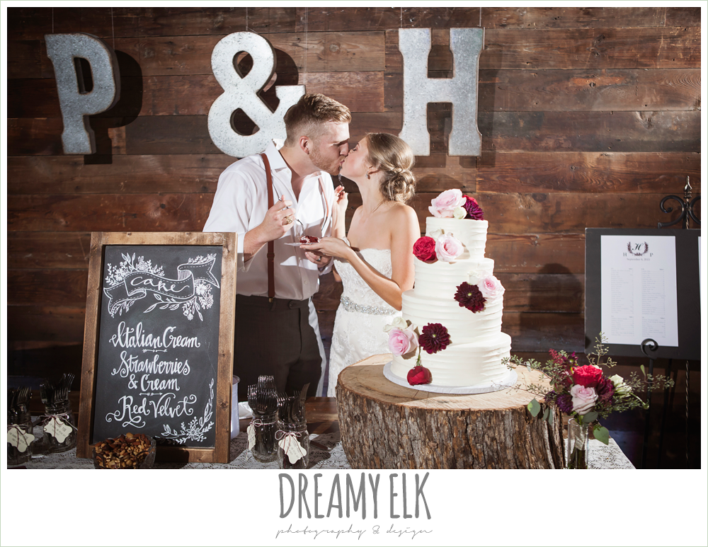 bride and groom cutting the cake, white wedding cake with flowers, Michelle's Patisserie, the union on 8th wedding photo {dreamy elk photography and design}