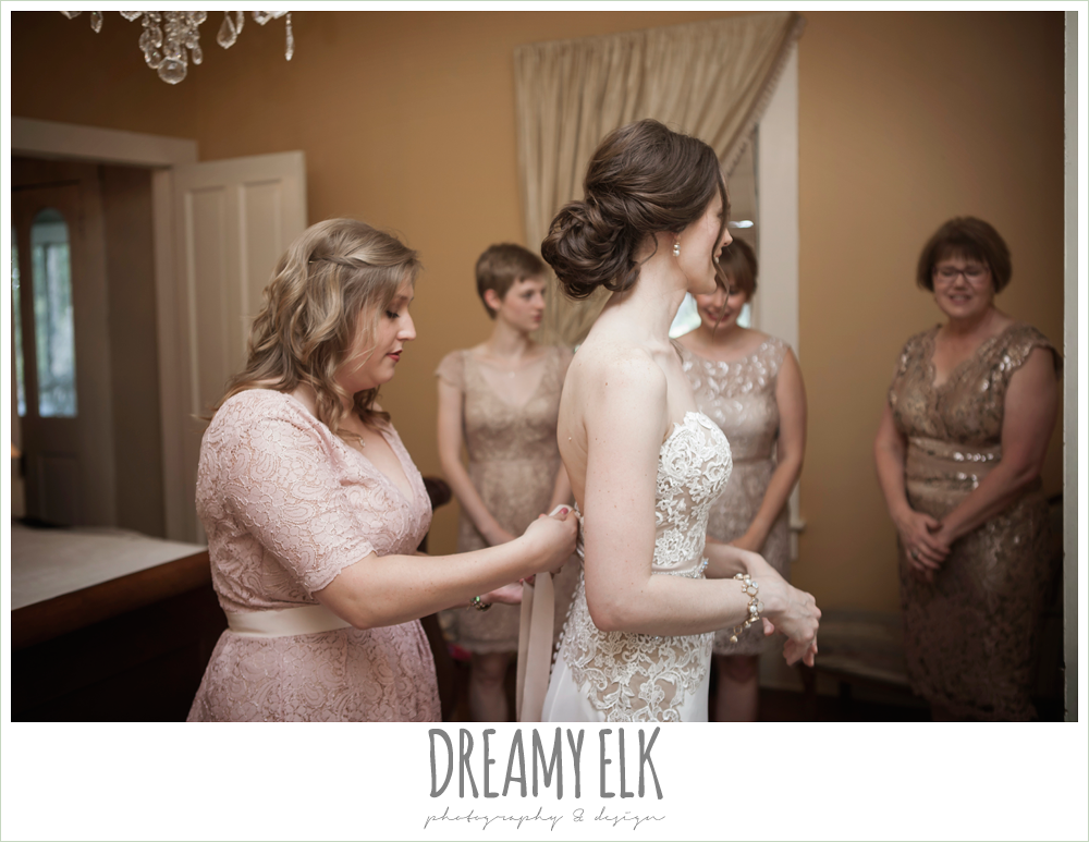 bride getting dressed, wedding hair updo, blush tone bridesmaids dresses, the winfield inn, wedding photo {dreamy elk photography and design}