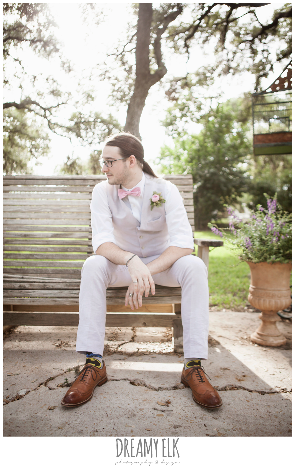 groom in linen vest and pant, pink bow tie, batman socks, the winfield inn, summer wedding photo {dreamy elk photography and design}