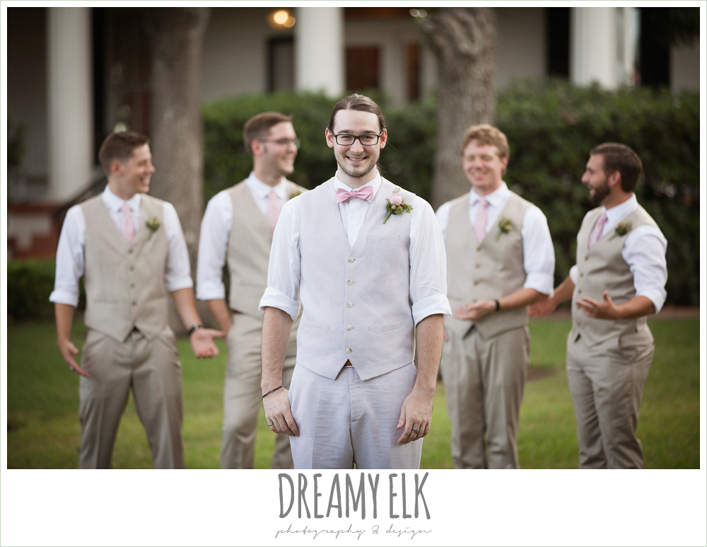 groom and groomsmen in linen vests and pants, pink bow tie, pink ties, the winfield inn, summer wedding photo {dreamy elk photography and design}