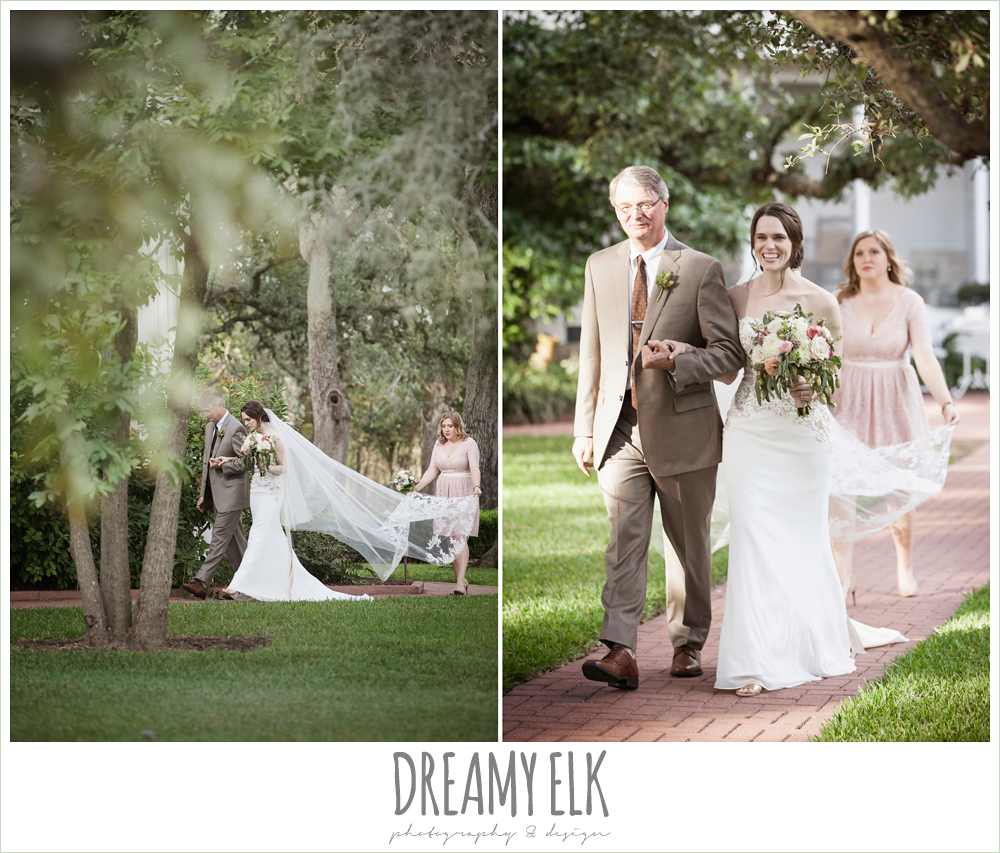 bride walking down the aisle, maid of honor carrying veil, the winfield inn, photo {dreamy elk photography and design}