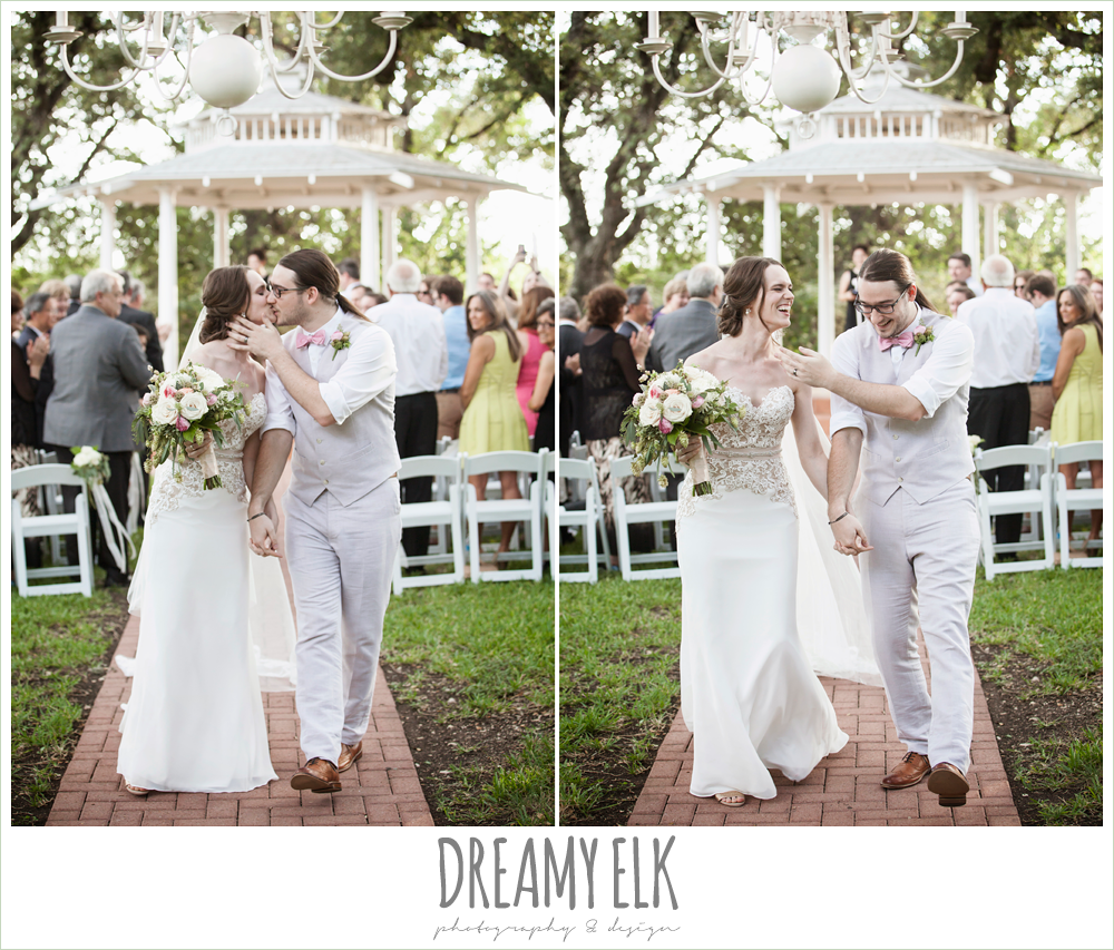bride and groom kissing and walking down the aisle, outdoor summer wedding ceremony, the winfield inn, photo {dreamy elk photography and design}