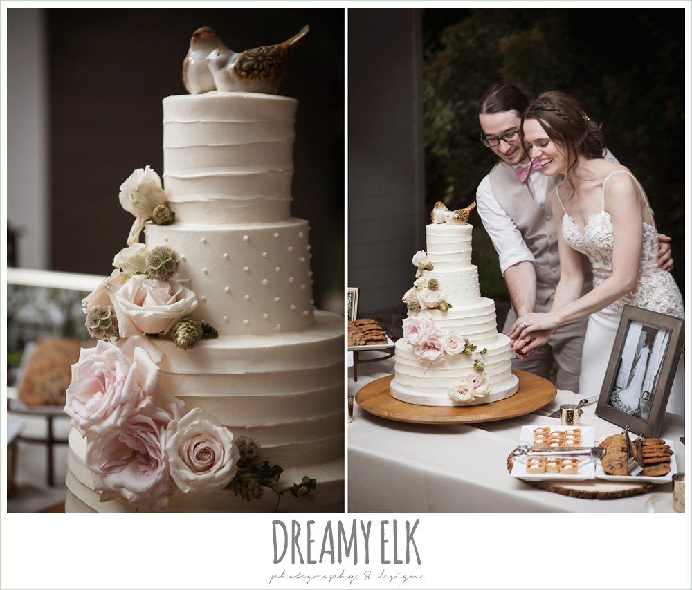 word of mouth catering, wedding cake, bird cake topper, cutting the cake, the winfield inn, photo {dreamy elk photography and design}