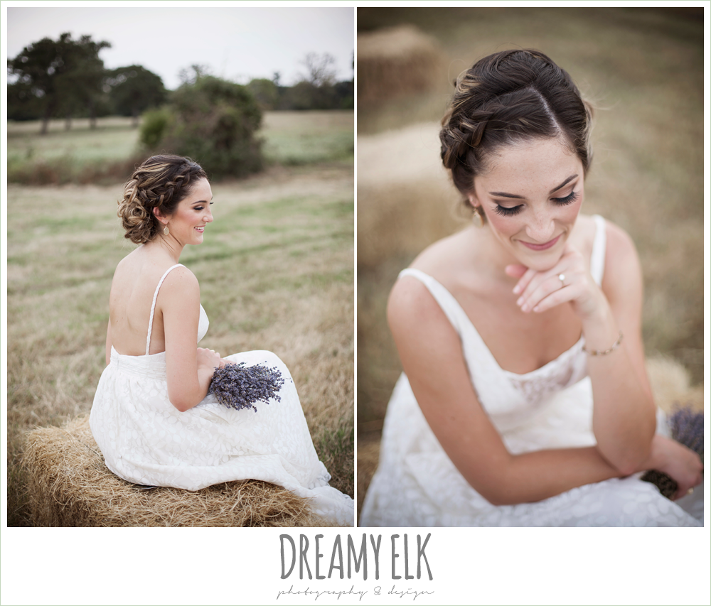 wedding hair updo with braid, country rustic bridal portrait with hay bales, lavender wedding bouquet, the amish barn at edge {dreamy elk photography and design}