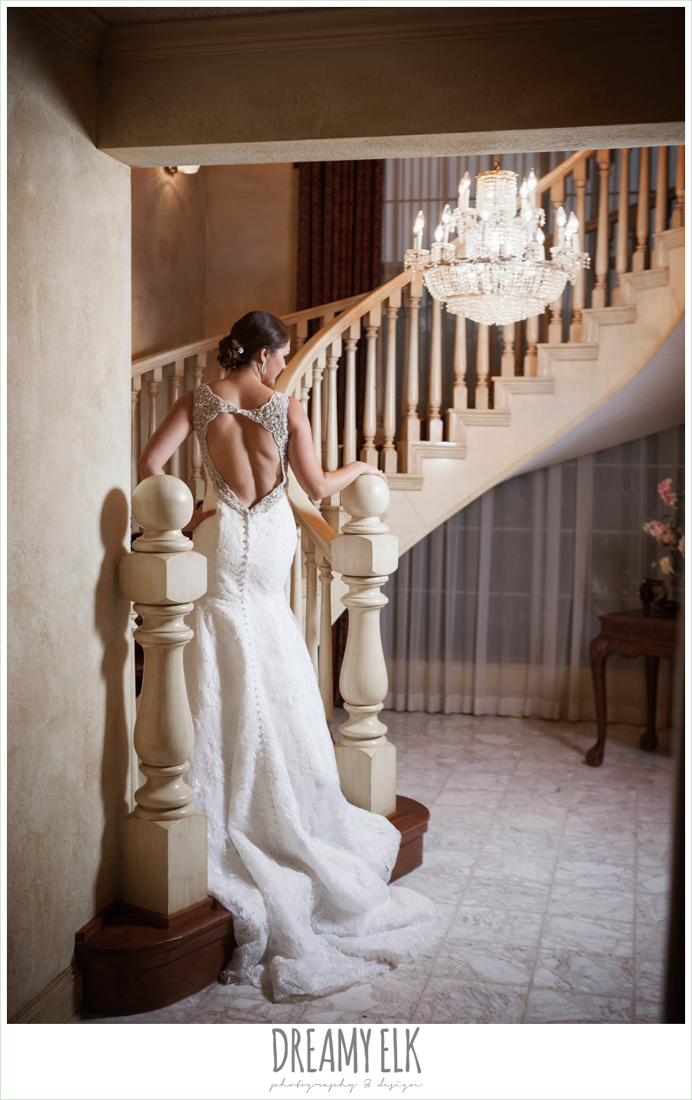 indoor bridal photo, staircase, backless wedding dress, ashelynn manor {dreamy elk photography and design}