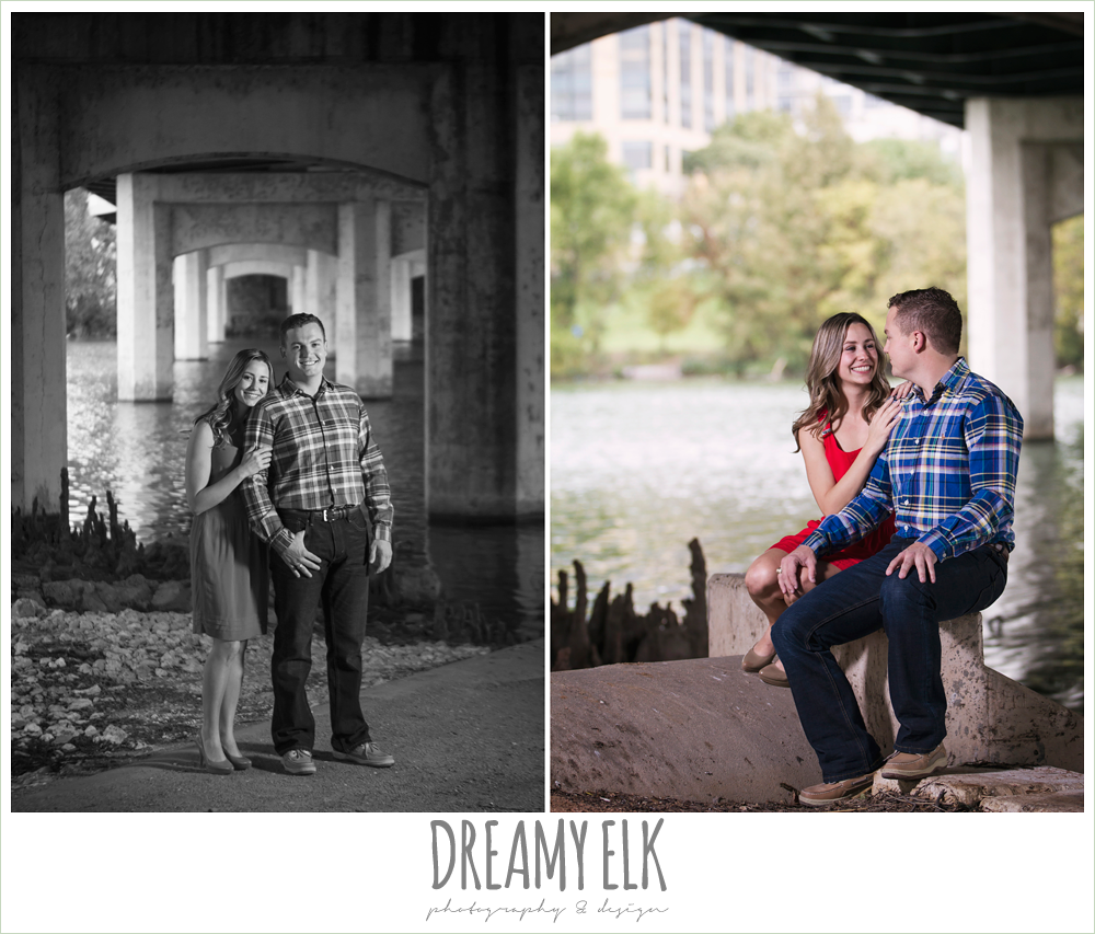 outdoor downtown austin engagement photo under a bridge {dreamy elk photography and design}