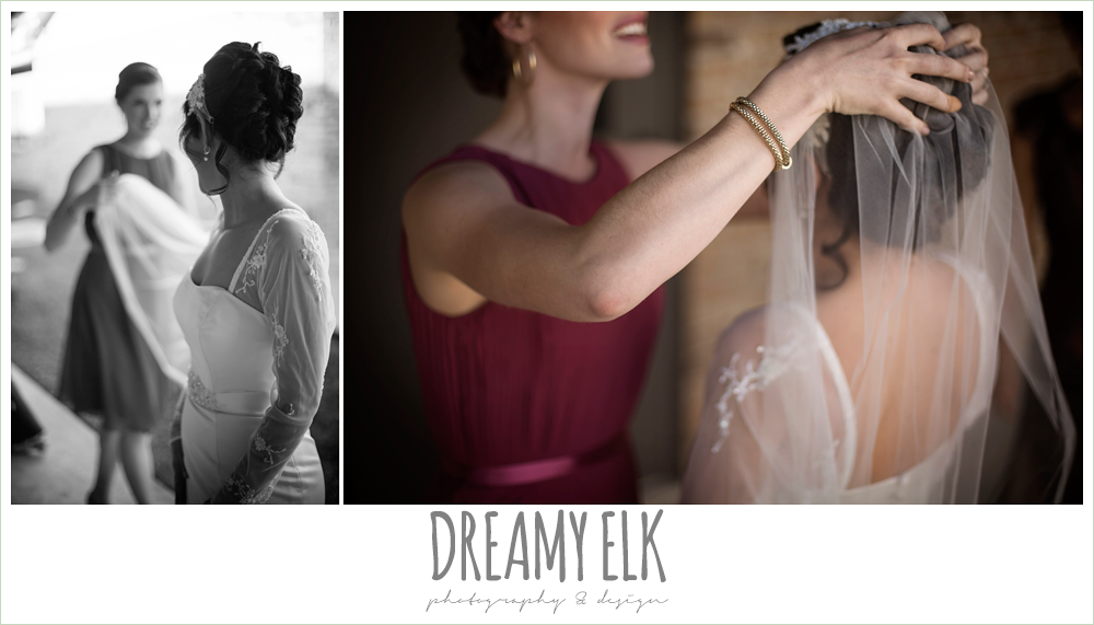 bride putting on veil, winter december church wedding photo {dreamy elk photography and design}