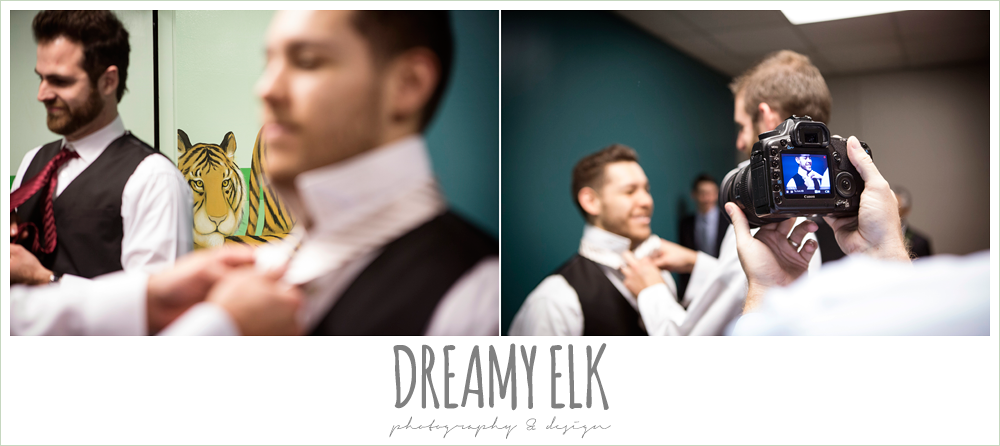 groom getting dressed, winter december church wedding photo {dreamy elk photography and design}